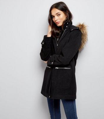 Black Faux Fur Trim Hooded Duffle Coat