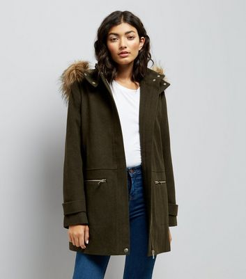 Khaki Faux Fur Trim Hooded Duffle Coat