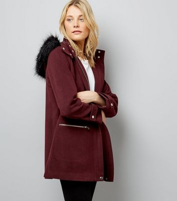 Burgundy Faux Fur Trim Hooded Duffle Coat