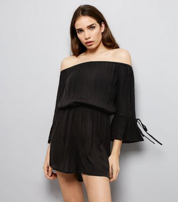 Black Tie Sleeve Bardot Neck Playsuit