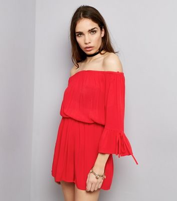 Red Bell Sleeve Bardot Playsuit