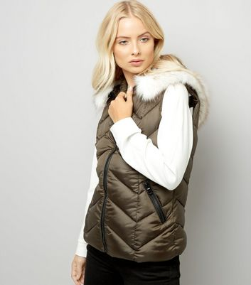 Khaki Faux Fur Trim Quilted Gilet