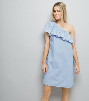 Blue Stripe Crochet Lace Off the Shoulder Dress