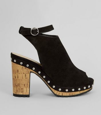 Black Suede Stud Side Heeled Clogs
