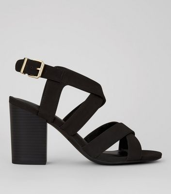 Black Suedette Cross Strap Front Block Heels