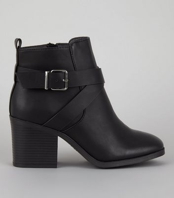 Wide Fit Black Square Toe Heeled Boots