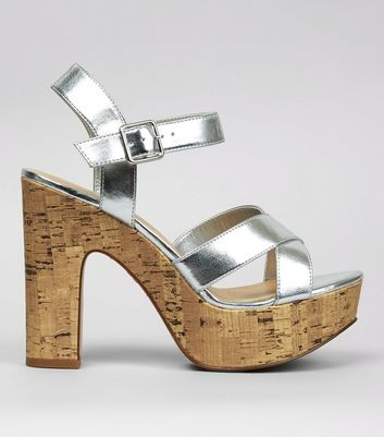 Wide Fit Silver Cork Platform Heels