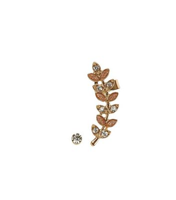 Gold Gold Glitter Leaf Earcuff and Stud