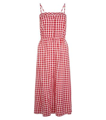 Red Gingham Tie Back Midi Dress