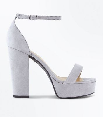 Wide Fit Grey Suedette Platform Block Heels