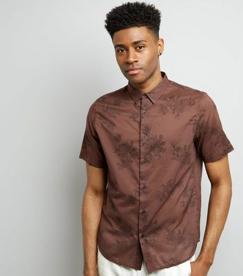 Brown Floral Print Short Sleeve Shirt