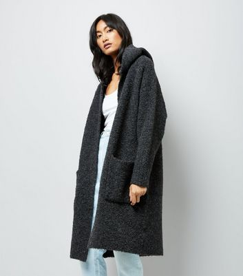 Grey Boucle Hooded Oversized Cardigan