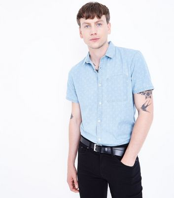 Blue Patterned Short Sleeve Denim Shirt
