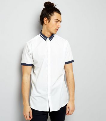 White Spot Print Trim Short Sleeve Shirt