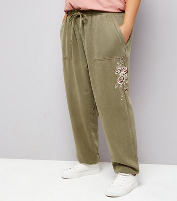 Curves Khaki Floral Embroidered Joggers