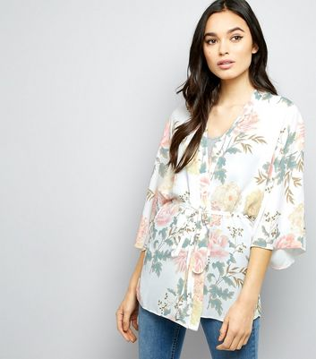 Tall White Floral Belted Kimono