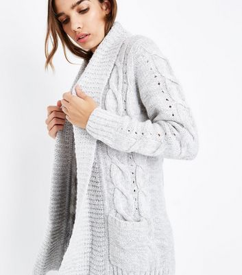 Tall Grey Cable Knit Cardigan