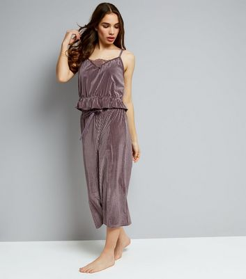 Lilac Ribbed Velvet Cami And Culottes Pyjama Set