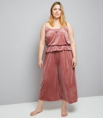 Curves Pink Ribbed Velvet Cami And Culotte Pyjama Set