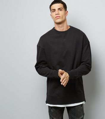 Black Dropped Shoulder Crew Neck Sweater