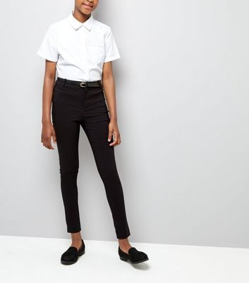 Teens Black Bengaline Belted Trousers