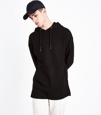 Black Dropped Shoulder Longline Hoodie