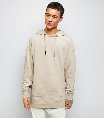 Stone Dropped Shoulder Longline Hoodie