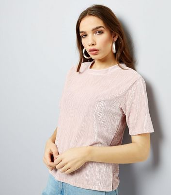 Shell Pink Embossed Velvet T-Shirt