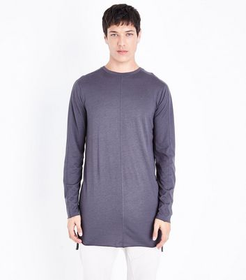 Dark Grey Seam Front Longline Long Sleeve T-Shirt