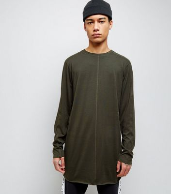 Khaki Seam Front Longline Long Sleeve T-Shirt