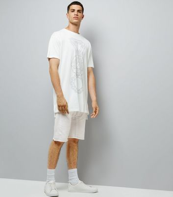 White Panelled Drop Crotch Jersey Shorts
