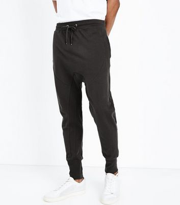 Grey Panelled Drop Crotch Jersey Joggers