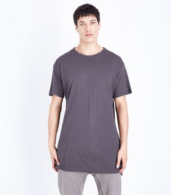 Grey Split Hem Longline T-Shirt