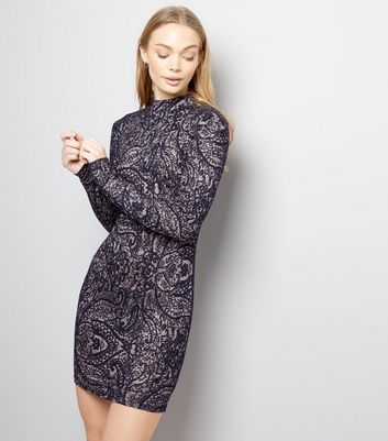AX Paris Navy Lace Funnel Neck Bodycon Dress