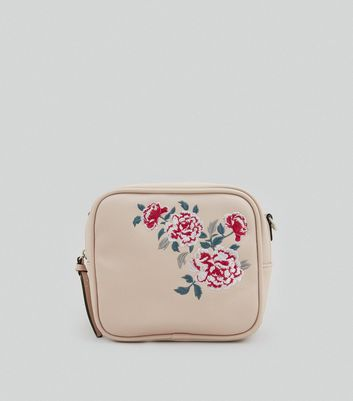 Nude Pink Floral Embroidered Cross Body Bag