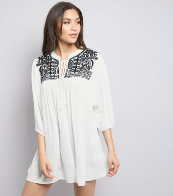 QED White Embroidered Panel Tunic