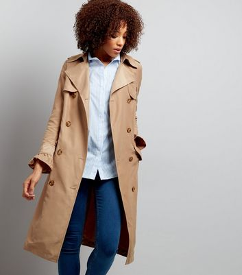 Camel Frill Sleeve Double Breasted Trench Coat