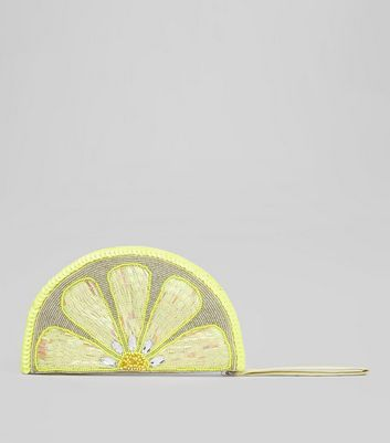 Yellow Lemon Sequin Embellished Clutch