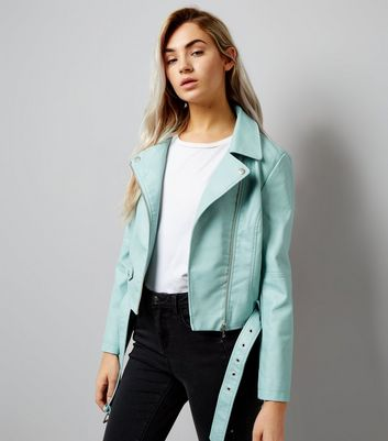 Petite Mint Green Leather-Look Biker Jacket