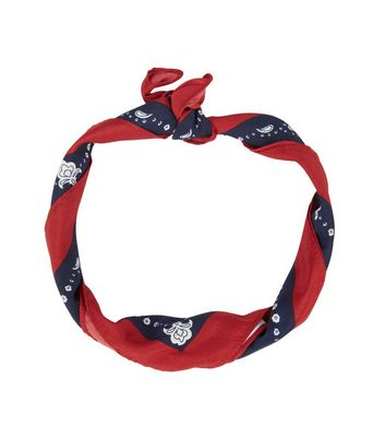 Red Colour Block Abstract Print Bandana