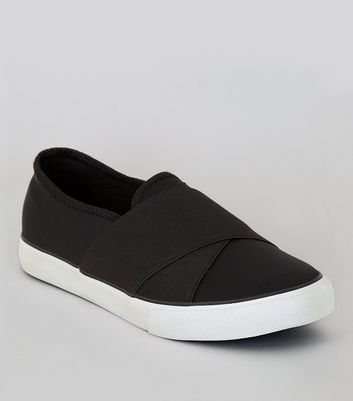 Black Elasticated Cross Strap Plimsolls