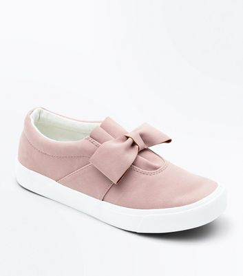 Pink Suedette Bow Slip On Trainers