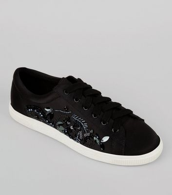 Black Satin Sequin Embellished Trainers