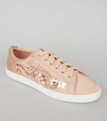 Nude Satin Sequin Embellished Trainers