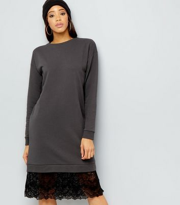 Dark Grey Lace Hem Longline Sweater
