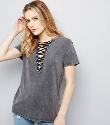 Dark Grey Washed Lattice Front Top