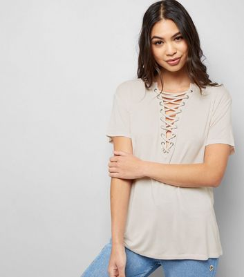 Shell Pink Washed Lattice Front Top