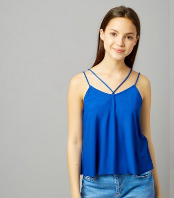 Teens Blue Double Strap Front Cami