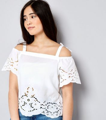 Teens White Broderie Bow Strap Cold Shoulder Top