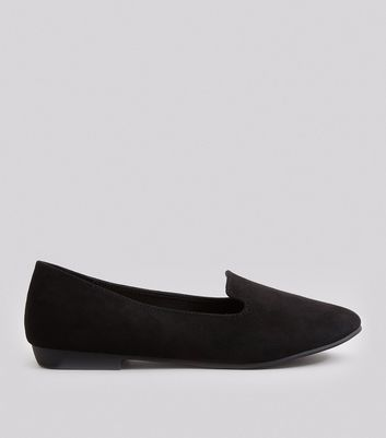 Wide Fit Black Suedette Loafers